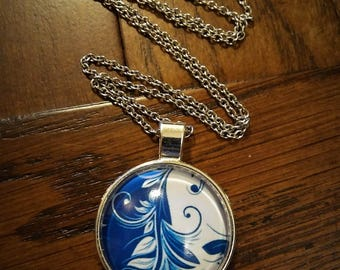 Blue and White Leaf Pendant