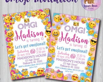 Emoji Invitation, Emoji Invite, Emoji Birthday Party, Emoji Party Emoji Printable, Emoticon Invitation, Emoticon Party, Tween Birthday Party