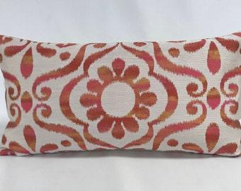 Pillow Cover- Modern Floral- Lumbar Pillow- 12 x 22 - Orange - Pink- Yellow - Gold - Cream -  Modern Look Pillow - Lined - Zippered