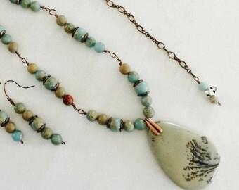 Aqua Terra Jasper and Chohua Jasper Gemstone Boho Necklace and Earring Set