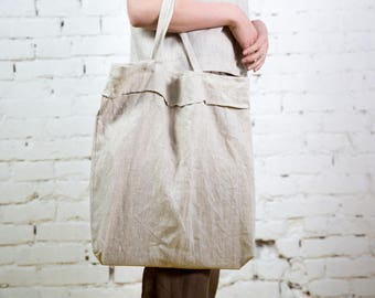 Linen tote bag, Linen beach bag, Linen bag, Summer bag, Shopping bag, Linen shopping bag/ LT0001