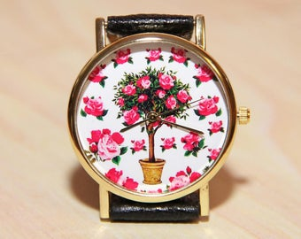 Watch flowers, rose watches, ladies' watches, red watches, favorite watches, unique watches, gift watches, topiary clocks, Wedding watches