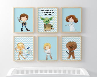 Star Wars Prints Set of 6-Child's Room Decor-Yoda-Luke-Leia-Chewie-R2-C3P0-Han Solo-Nursery Print-Blue Chevron-Kids Print-Instant Download