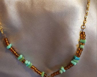 Turquoise & amber beaded choker necklace