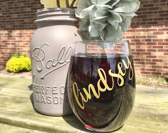 Bachlorette Party Wine Glasses, Bridal Shower Wine Glasses, Wedding Party Wine Glasses, Personalized Stemless Wine Glasses, Girls Night Out