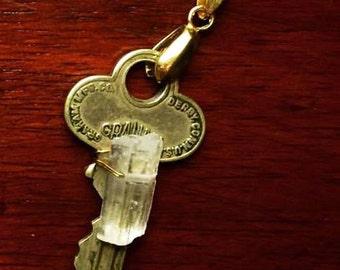 Crystal antique Key necklace
