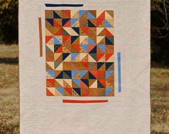 """Homemade Modern/Traditional Quilt - """"Dancing Triangles"""""""