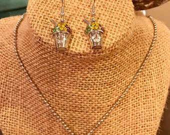 New Orleans SnowBall Earrings and Necklace set