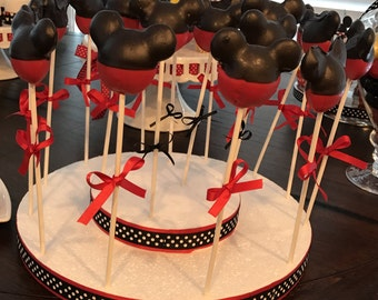 Cake pop stand, mickey mouse cake pop stand, minnie mouse cake pop stand, red & white cake pop stand