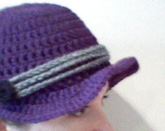 Crochet Purple Hat with Brim