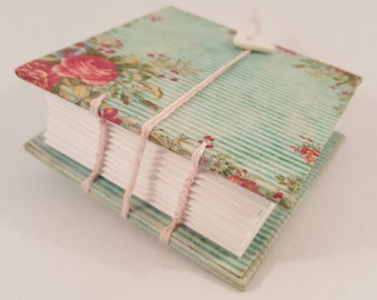 Small handmade Coptic-bound notebook shabby stripe with roses