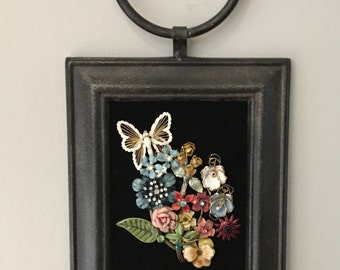 Vintage Jewelry Floral Collage Framed Art Picture