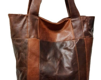 Handmade Genuine Leather Carryall Patchwork BARGANZA sorpresa Tote