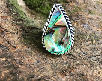 The Kaua Ring - Teardrop silver Abalone shell ring.