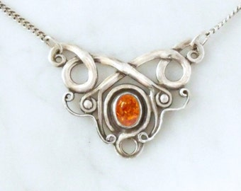 "Silver necklace with amber ""Air Dragon 2"""