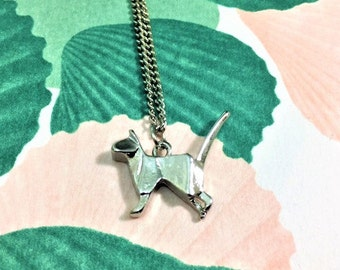 Silver cat origami pendant necklace