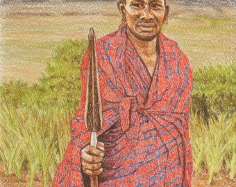 Maasai Portrait, African Art, African Painting, African Portraits, Masai Warrior, Original Masai Art, Masai Painting, Masai Figure, Tanzania