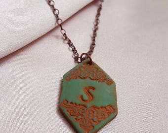 Vintage Style Initial Necklace - Personalized - Bridesmaid Gift - Filigree