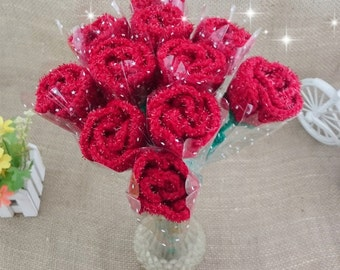 Pure Handmade Creative Knitted Crochet Artificial Red 11 PC