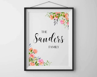 Family name print Personalized family print Family name sign Family art print Personalised printable Home wall art Floral printable