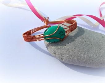 Copper bracelet / / women's Bracelet / / stone of magnesite / / gift for wife / / jewel / / handmade / / ethnic