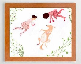 Let's go play-#Decor#Home, #Art#room. #Illustration, #Girl, #Dog, Pink,#Girls  #Europeanstreetteam