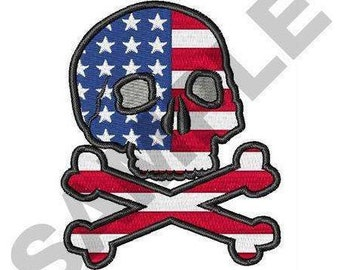 American Flag Skull = Machine Embroidery Design