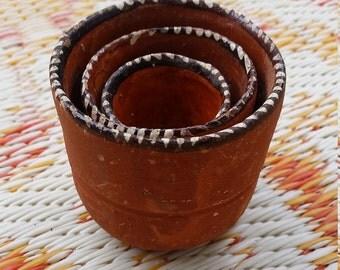 Vintage Handmade Nesting Ceramic Clay Bowls