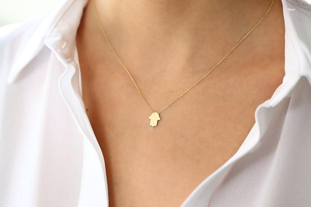 Hamsa Necklace/ 14k Gold Tiny Hamsa Necklace/ Hamsa Necklace Gold/ Evil Eye/ Minimalist Protectoin Hamsa Charm Pendant/ Mothers Day Gift