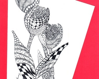 Spring Tulips,  Zentangle Doodle Cards, Nature, Flower Card, Colouring Creative Cards
