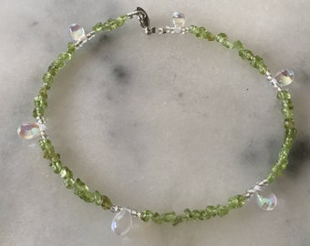 Moonstone Anklet with Green Rock Beads and Clear Seabeads
