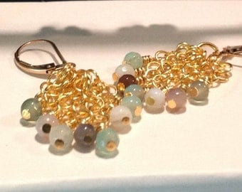 Gold Dangling Chain Earrings with Agate Beads