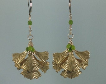 Earrings of Brass Ginkgo Leaves, Gold Chain and Olive Beads