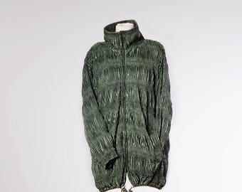 Vintage Long Jacket•Vintage Parka•Retro outwear•Vintage snake jacket•Structured vintage clothing•Moss green womens jackets•80s windbreaker