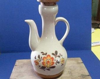 Vintage Wood & Ceramic Oil/ Vinegar Jug