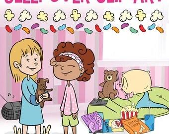 Sleepover Clip Art, Slumber Party Clip Art, Classroom Clip Art, Girly Clip Art, Boombox Clipart, Popcorn Clipart, Sleeping Bag ClipArt
