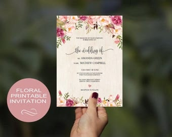 Wedding Floral Invitation Template - Pink Flowers Peony Bouquet Invite-DIY Printable Invitations-PDF-Download Instantly | VRD145AP