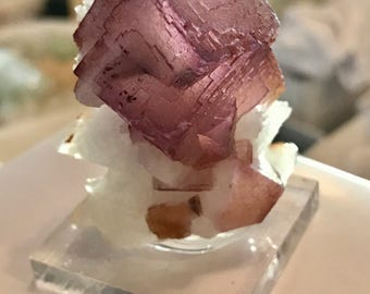 Cubic PURPLE Fluorite Crystal! Calcite, China Rocks and Minerals, 43g