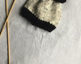 Hand Knit Baby Beanie with Bow / Baby Beanie / Baby Hat with Bow / Knit Baby Hat
