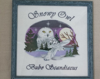 Snowy Owl; Machine Embroidered Owl Portrait; Framed Owl Art