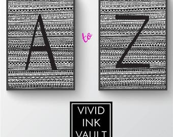 Printable Wall Art, Letters A-Z (Entire Alphabet) with Tribal Background, Monogram, Print, Instant Download, Poster, Digital, Gift Idea