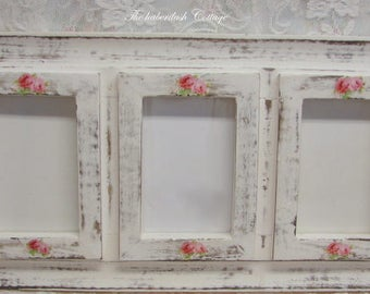 Shabby cottage chic Country Farm house cottage chic rustic photo picture frame Pink roses OOAK Hand embellished beach cottage