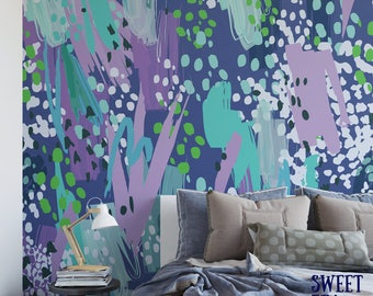 Blues paint wall mural / abstract removable wallpaper / artistic self adhesive wall mural M1494