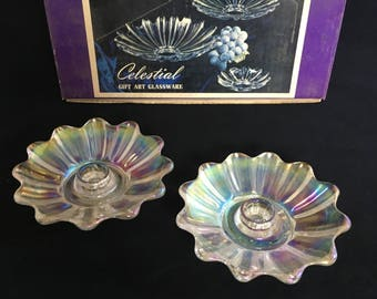 Federal Glassware Iridescent Celestial Candle Holder Set of 2