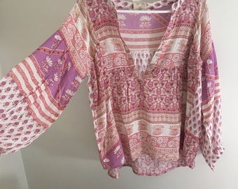 Vintage Indian Gauze blouse top Boho Festival Style