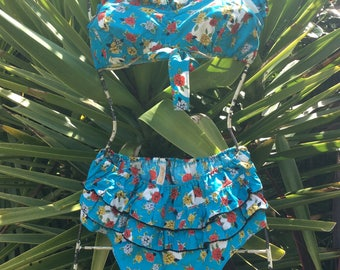 Pretty Fifties Azure Blue Floral Frilly Bikini ....RARE .....