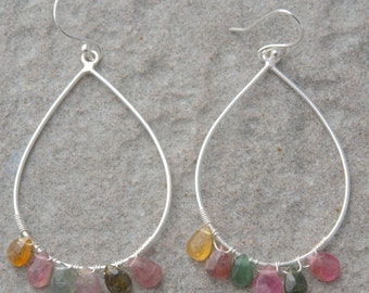 Sterling silver earrings with differents colors tourmaline