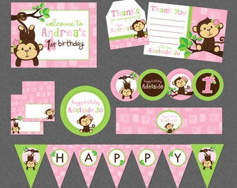 Cute Monkey Girl Mega Birthday Printable Party Pack - Pink & Green