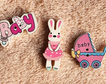 3 pieces wooden buttons, lettering: baby, Easter bunny, baby carriages.