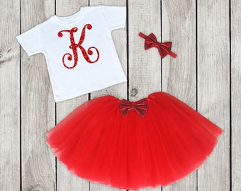Personalized first birthday outfit, Personalized Birthday Outfit, First Birthday Outfit, Red Tutu Outfit, 1st Birthday, One
